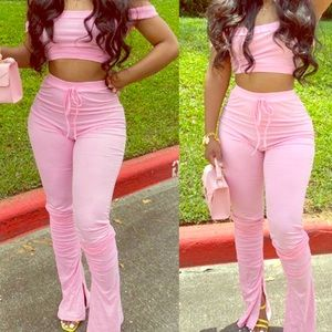 New Women's two piece stacked leggings outfit